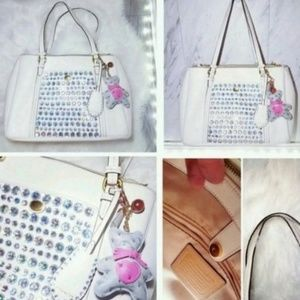 Coach Sparkling White Tote Bag Handbag Shoulder